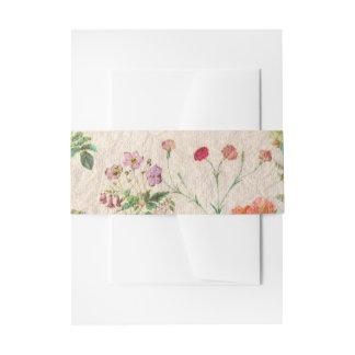Romantic Elegant Pink Vintage Botanical Flowers Invitation Belly Band