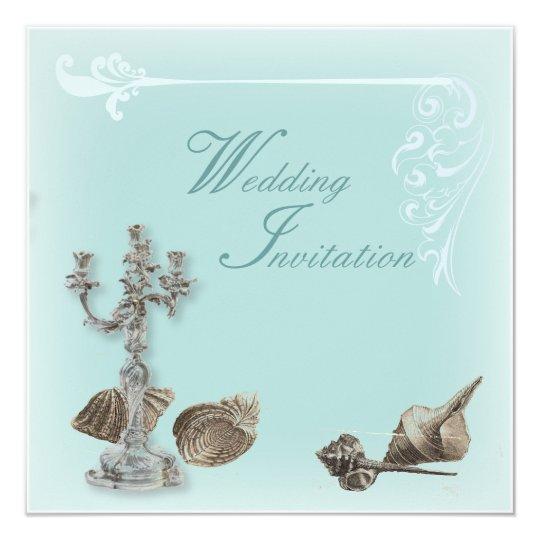 Romantic Elegant Seashell Beach Wedding Invitation