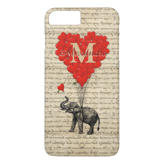 Romantic elephant and love heart monogram iPhone 8 plus/7 plus case