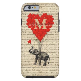 Romantic elephant and love heart monogram tough iPhone 6 case