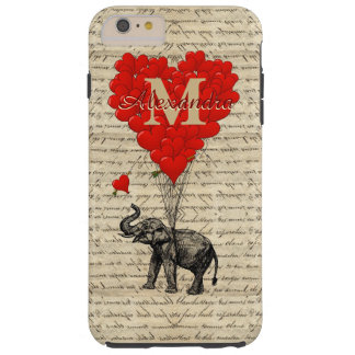 Romantic elephant and love heart monogram tough iPhone 6 plus case