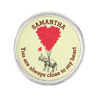 Romantic elephant and red heart personalized lapel pin