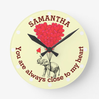 Romantic elephant and red heart personalized round clock