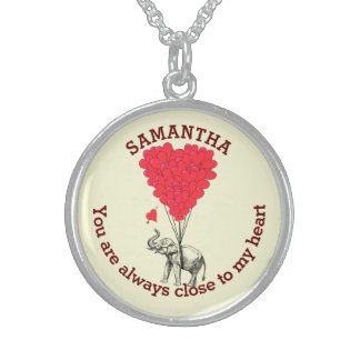 Romantic elephant and red heart personalized sterling silver necklace