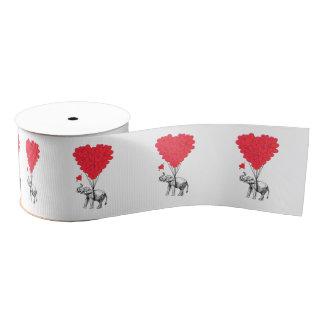 Romantic elephant and Valentines love heart Grosgrain Ribbon