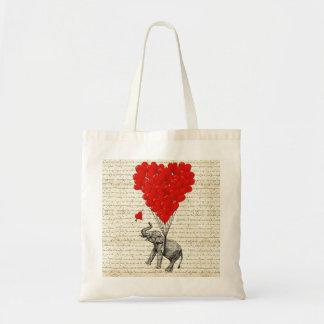 Romantic elephant & heart balloons tote bag