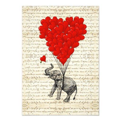 Romantic elephant & heart balloons custom invitations