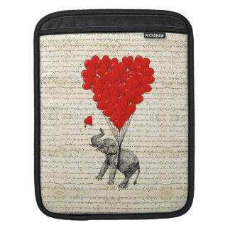 Romantic elephant & heart balloons iPad sleeve