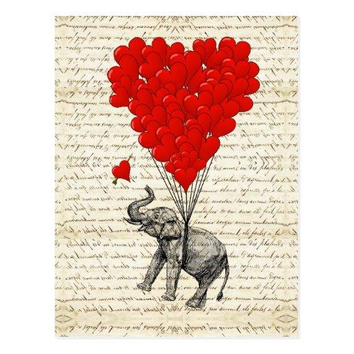 Romantic elephant & heart balloons post card