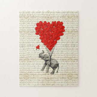 Romantic elephant & heart balloons puzzle