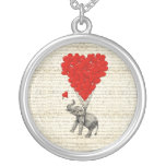 Romantic elephant & heart balloons round pendant necklace