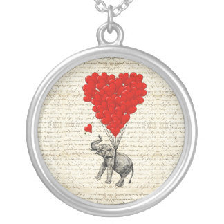 Romantic elephant & heart balloons silver plated necklace