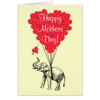 Romantic elephant mothers day card