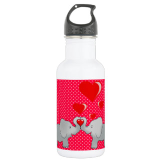 Romantic Elephants & Red Hearts On Polka Dots 532 Ml Water Bottle