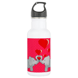 Romantic Elephants & Red Hearts On Polka Dots 532 Ml Water Bottle