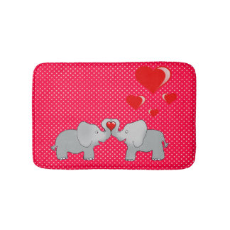 Romantic Elephants & Red Hearts On Polka Dots Bath Mat