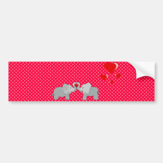 Romantic Elephants & Red Hearts On Polka Dots Bumper Sticker