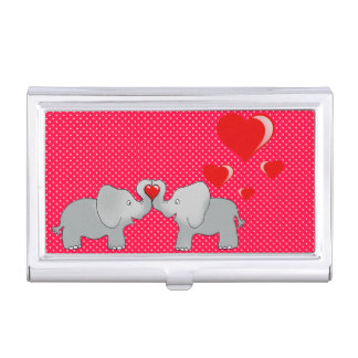 Romantic Elephants & Red Hearts On Polka Dots Business Card Holder