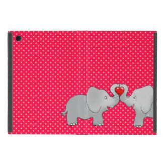 Romantic Elephants & Red Hearts On Polka Dots Case For iPad Mini