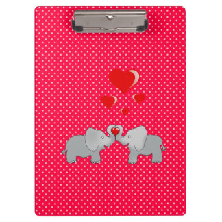 Romantic Elephants & Red Hearts On Polka Dots Clipboard