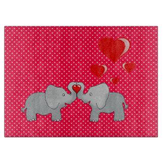 Romantic Elephants & Red Hearts On Polka Dots Cutting Board