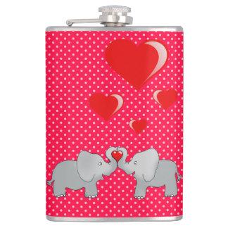 Romantic Elephants & Red Hearts On Polka Dots Flask