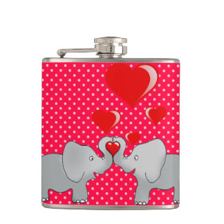 Romantic Elephants & Red Hearts On Polka Dots Hip Flask