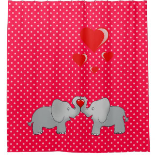 Romantic Elephants & Red Hearts On Polka Dots Shower Curtain