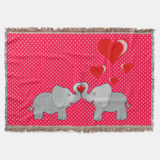 Romantic Elephants & Red Hearts On Polka Dots Throw Blanket