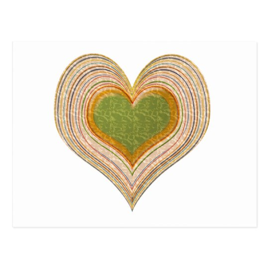 Romantic Emerald Gold Heart Postcard