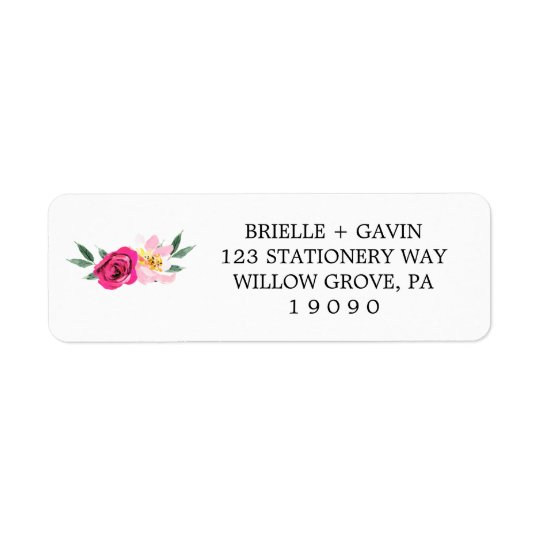 Romantic Fairytale Blossom Bouquet Wedding Return Address Label