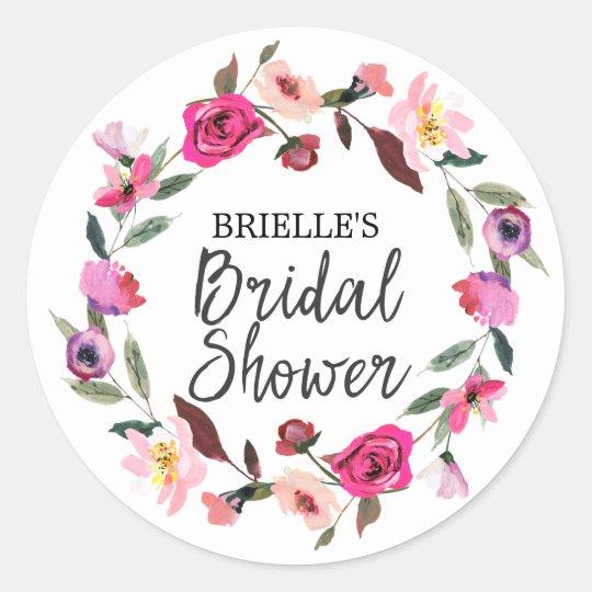 Romantic Fairytale Blossom Wreath Bridal Shower Classic Round