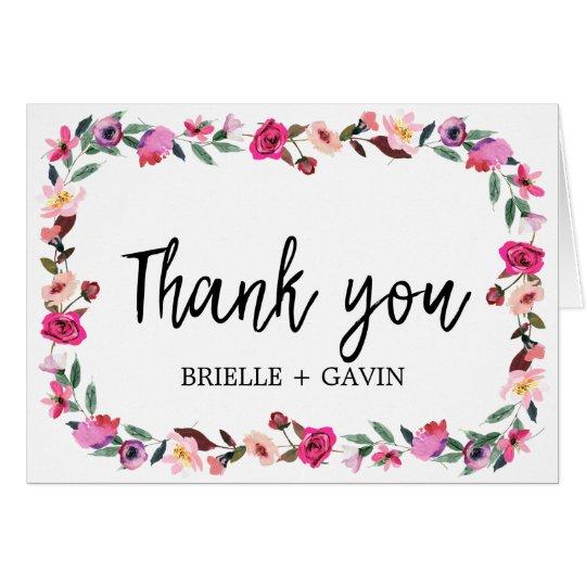 Romantic Fairytale Blossom Wreath Thank You Card