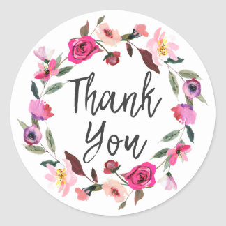 Romantic Fairytale Blossom Wreath Thank You Classic Round Sticker