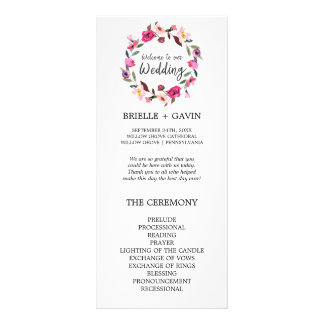 Romantic Fairytale Blossom Wreath Wedding Program Rack Card