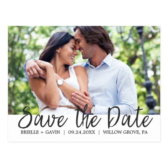 Romantic Fairytale Calligraphy Save the Date Photo Postcard