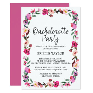 Romantic Fairytale Wreath Bachelorette Party Card