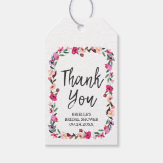 Romantic Fairytale Wreath Bridal Shower Thank You Gift Tags