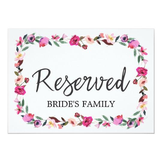 "Romantic Fairytale Wreath Wedding ""Reserved"" Sign Card"