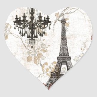Romantic Fall Autumn Leaves Paris Eiffel Tower Heart Sticker