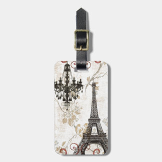 Romantic Fall Autumn Leaves Paris Eiffel Tower Luggage Tag