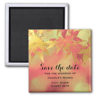 Romantic Fall Red Gold Maple Save The Date Wedding Square Magnet