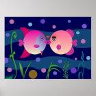 Romantic Fish Kiss Poster