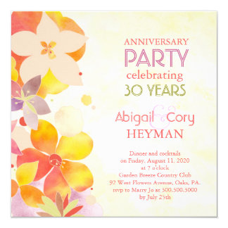Romantic Floral 30th Wedding Anniversary Party 13 Cm X 13 Cm Square Invitation Card