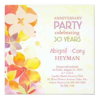 Romantic Floral 30th Wedding Anniversary Party 13 Cm X 13 Cm Square Invitation Card