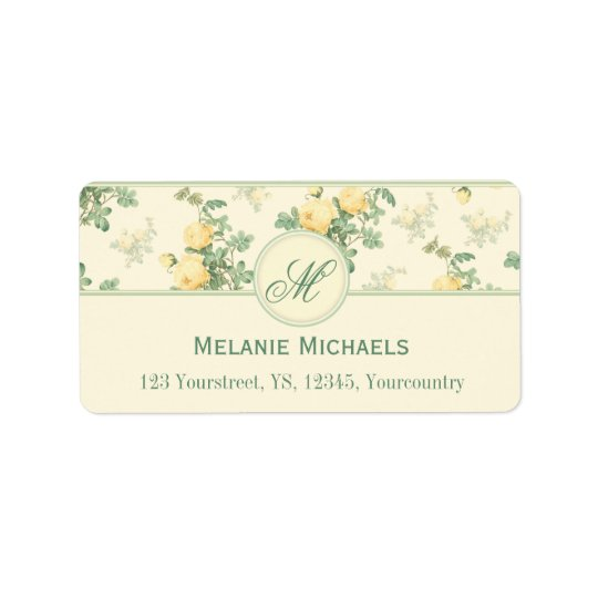 Romantic floral address labels yellow roses