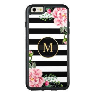 Romantic Floral Black White Stripes Monogram OtterBox iPhone 6/6s Plus Case