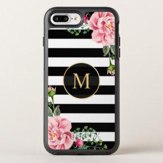 Romantic Floral Black White Stripes Monogram OtterBox Symmetry iPhone 8 Plus/7 Plus Case