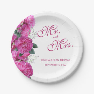 Romantic Floral Bouquet Wedding Paper Plate