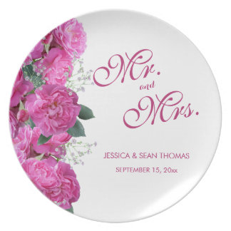 Romantic Floral Bouquet Wedding Plate